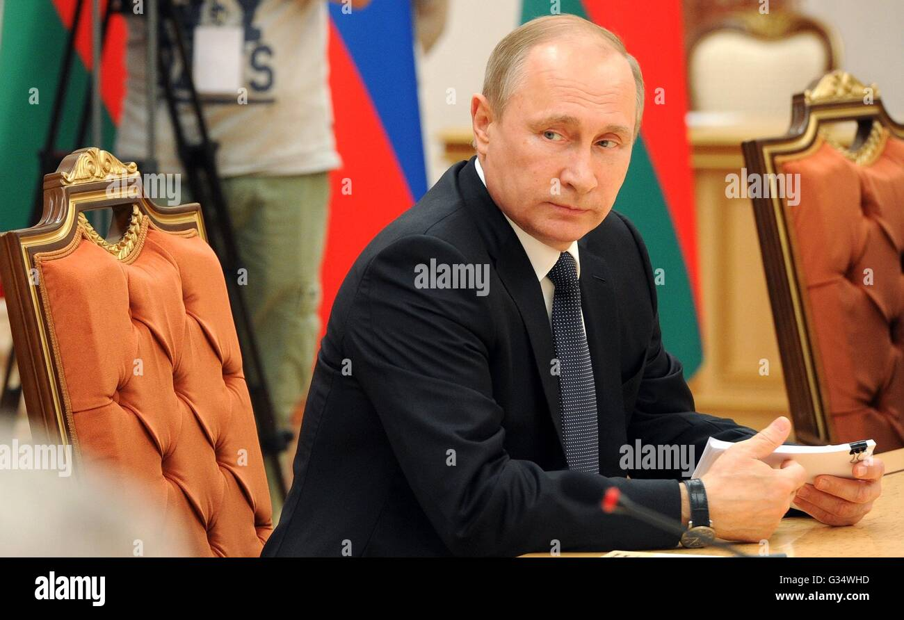 Minsk, Belarus. 08th June, 2016. Russian President Vladimir Putin during Russian-Belarusian talks with Belarus President - Stock Image