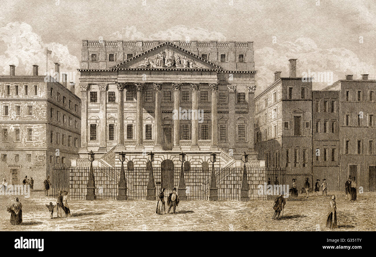 Mansion House, the official residence of the Lord Mayor of London, 18th century - Stock Image
