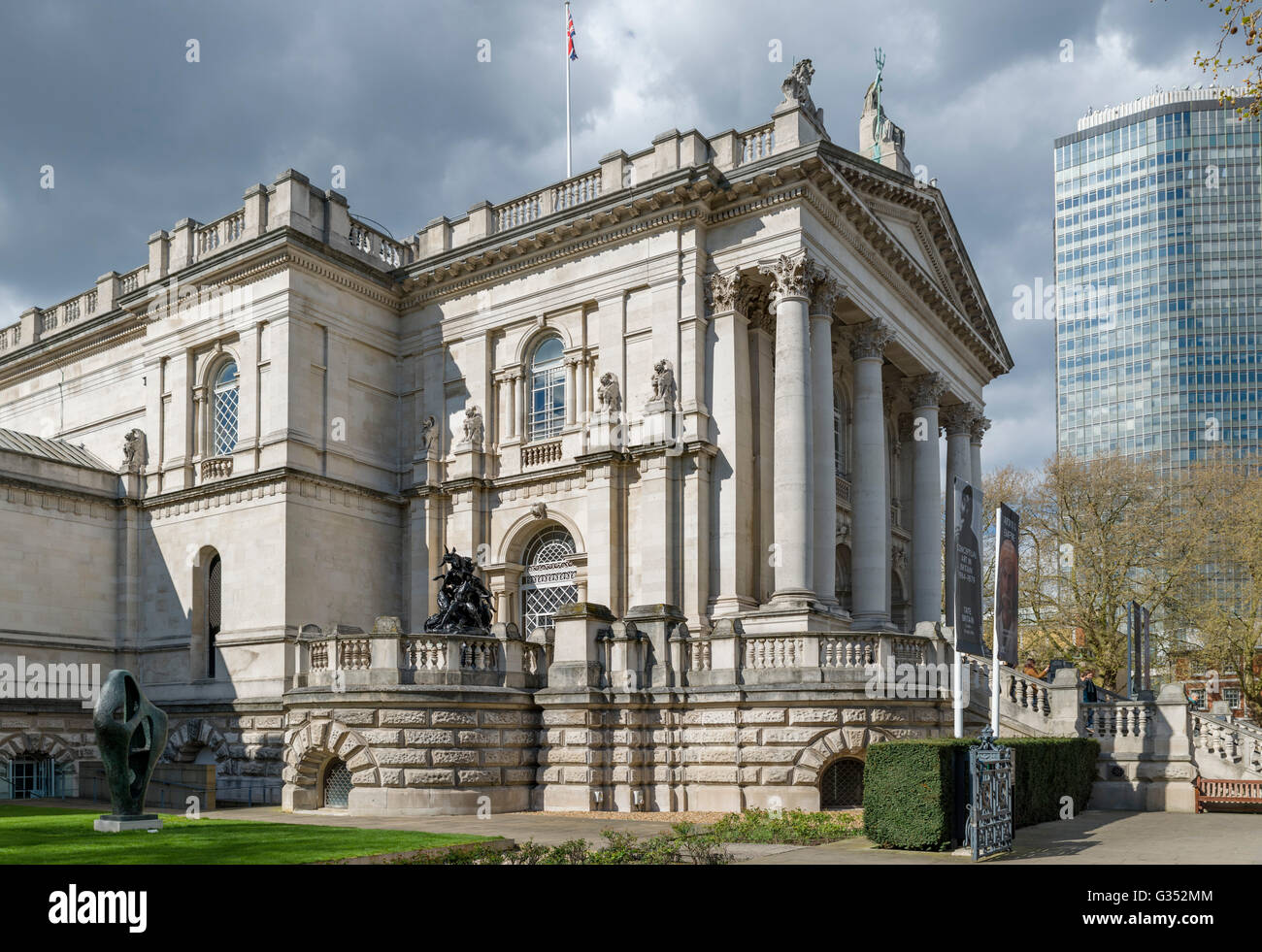 Entrance to Tate Britain art gallery, Millbank, London ...