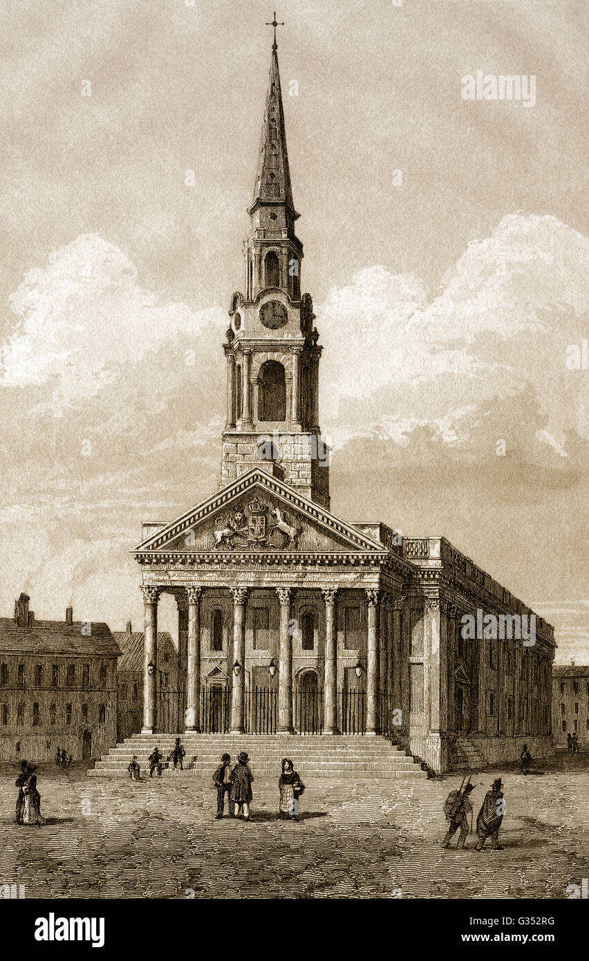 St Martin-in-the-Fields, English Anglican, Trafalgar Square, City of Westminster, London, 18th century - Stock Image