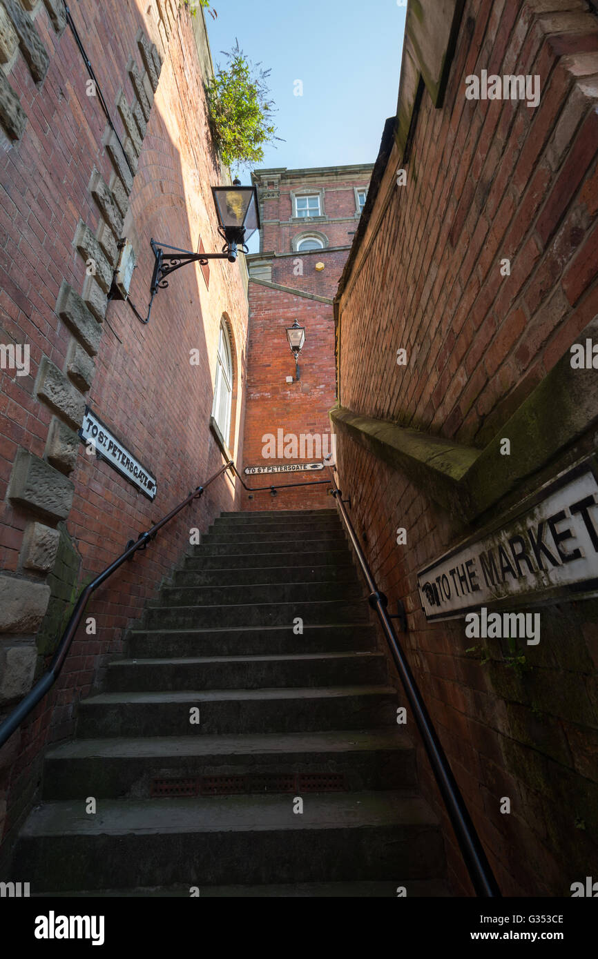 One of Stockport's many stairs between levels of the town, Cheshire UK - Stock Image