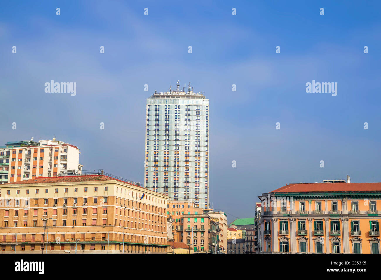 Ambassador Hotel and building architecture in Naples,Italy - Stock Image