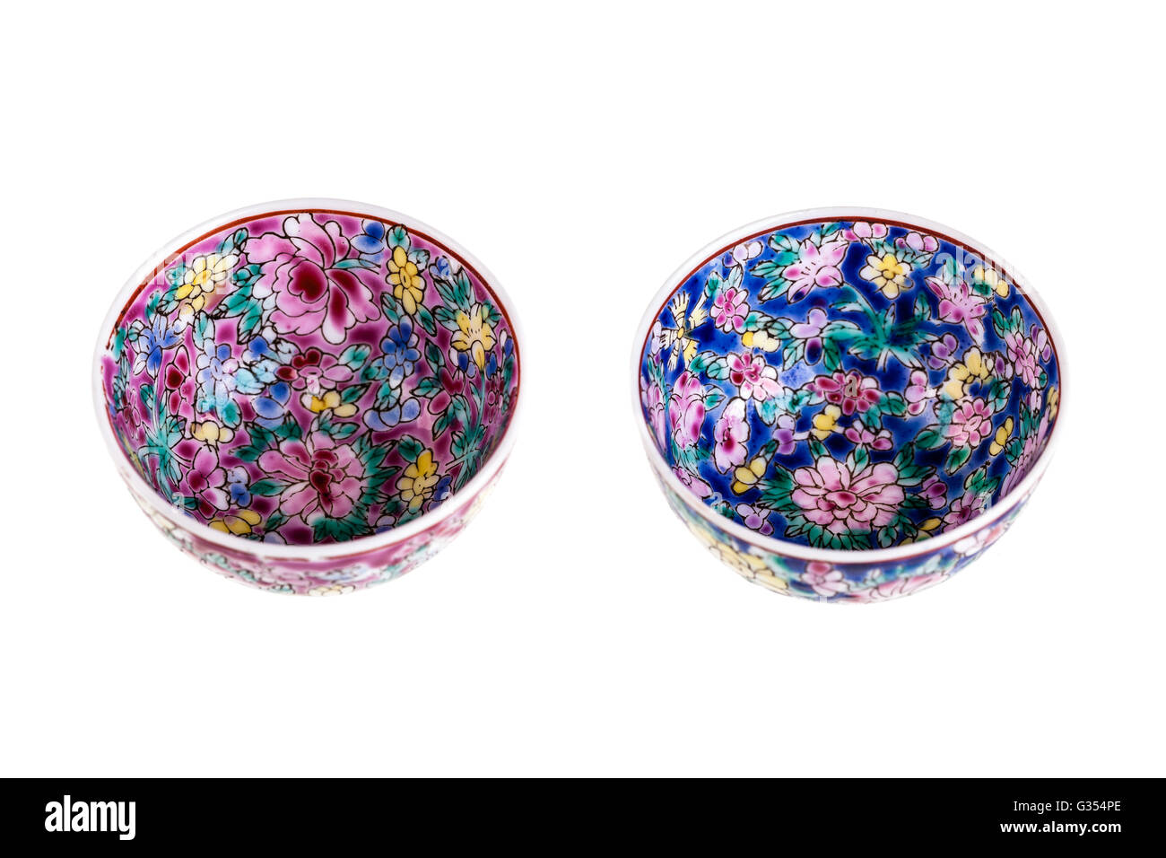 two small chinese soup bowls isolated over a white background Stock Photo