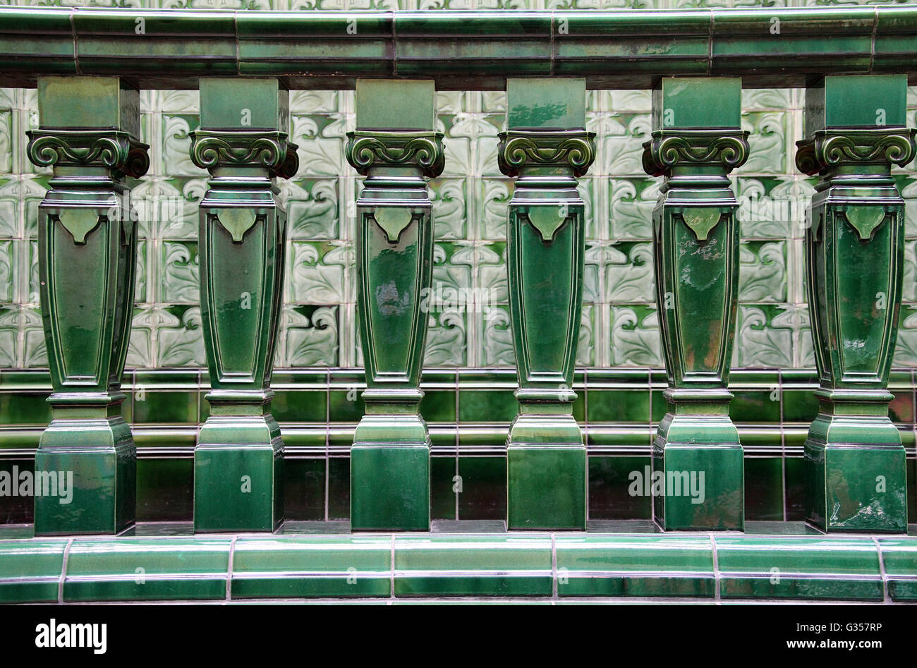 Art Nouveau Pilkington tiles at the historic Victoria Baths in Manchester - Stock Image
