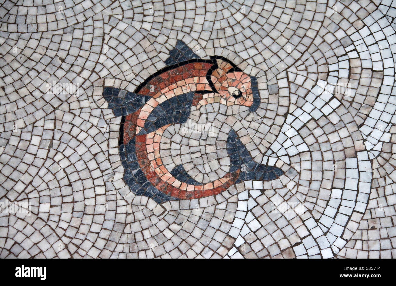 Mosaic floor of Victoria Baths in Manchester - Stock Image