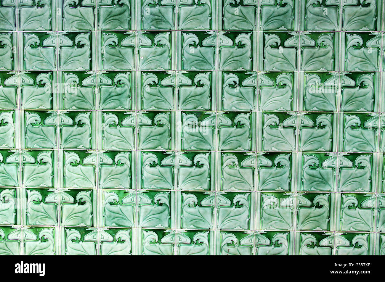 Art Nouveau Green Glazed Pilkington Tiles at the Historic Victoria Baths in Manchester - Stock Image