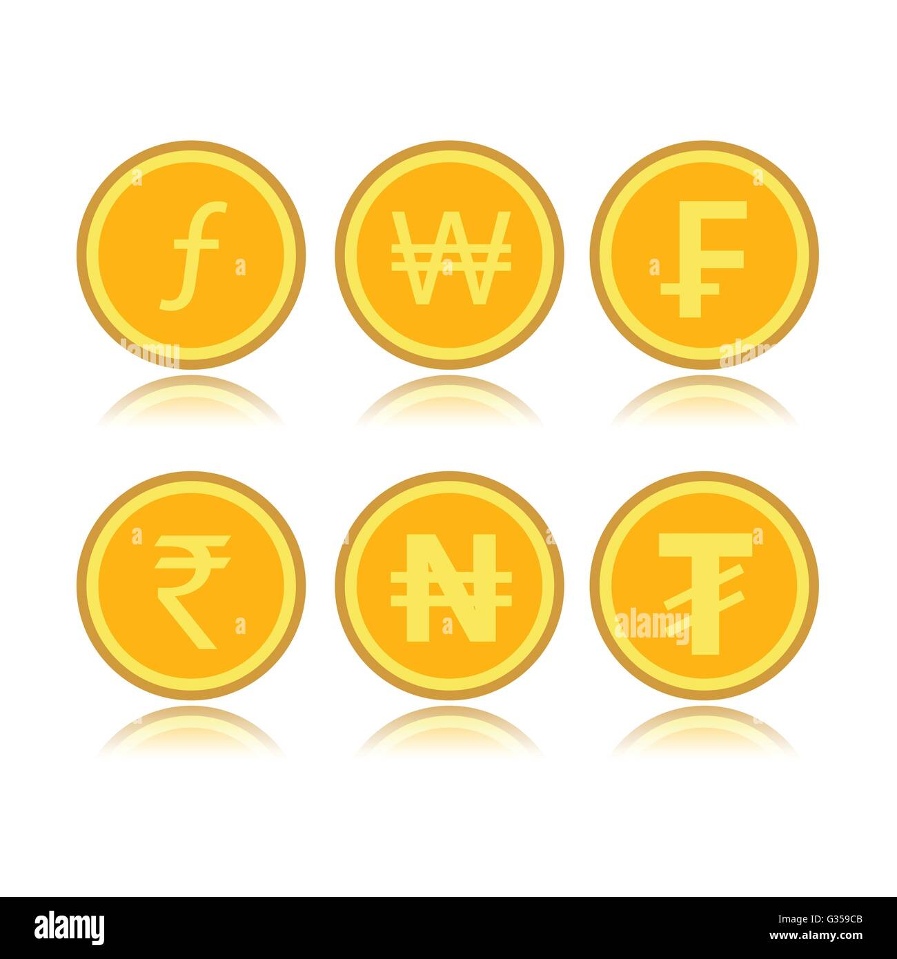 Set of foreign coins - Stock Vector