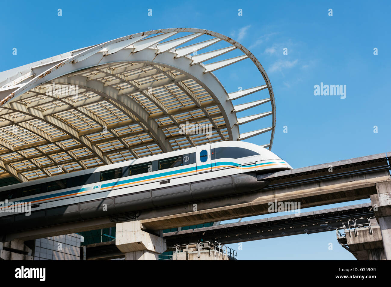 Maglev Train in Shanghai - China. - Stock Image