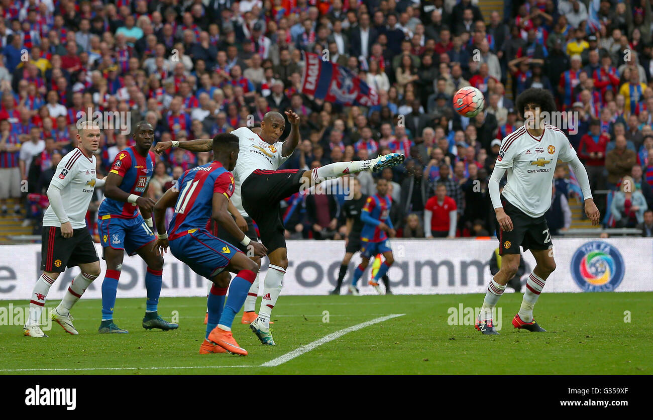 Ashley Young of Manchester United clears the ball during the Emirates FA Cup Final between Crystal Palace and Manchester - Stock Image