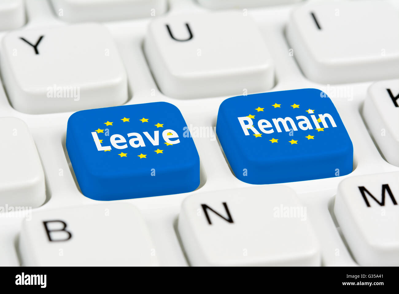 Brexit vote concept. EU Leave or Remain buttons on a computer keyboard. Brexit voting. EU referendum. European referendum. - Stock Image