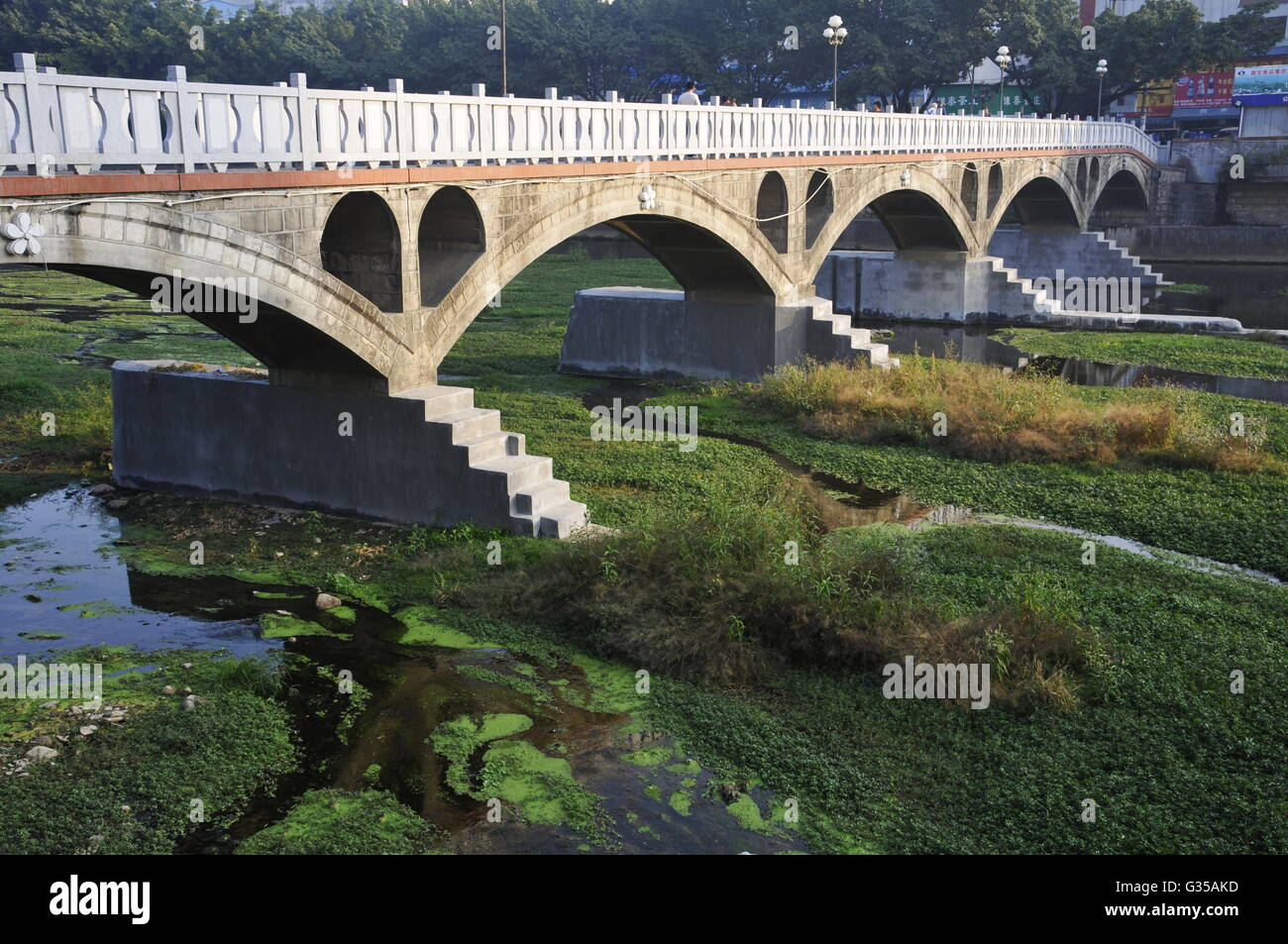 Bridge Over Stone River in LongYan, Fujian, China - Stock Image