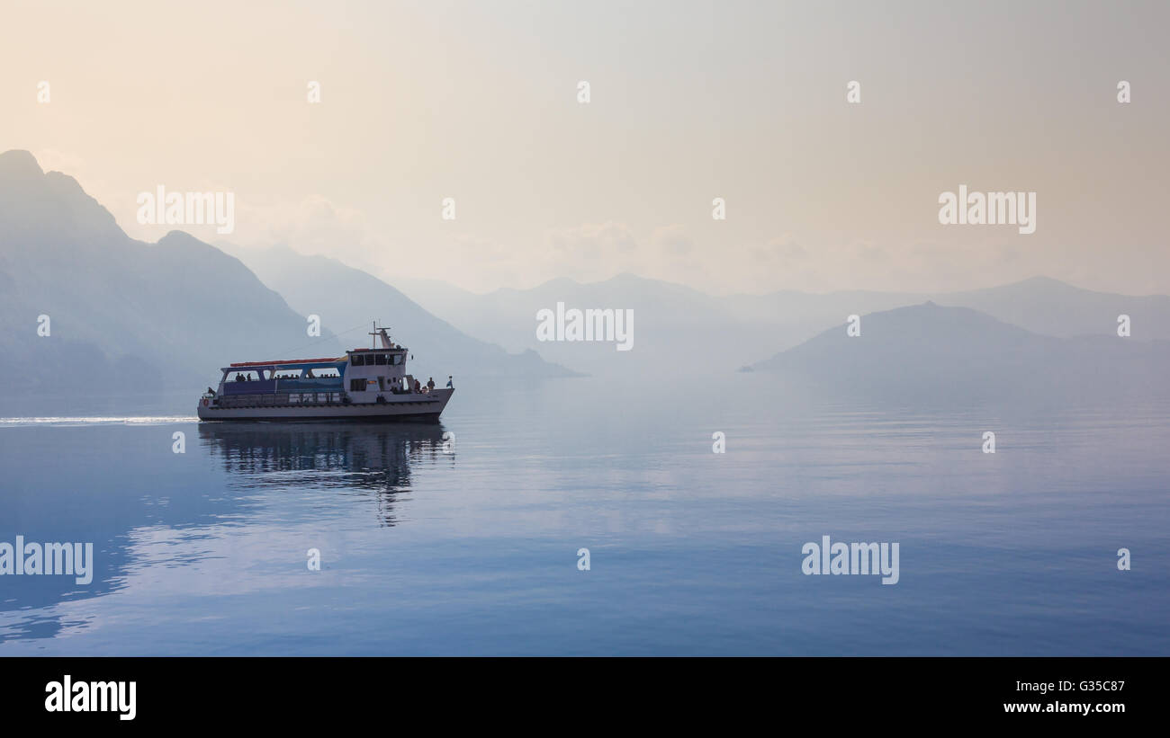 Passenger Ferry Boat on Lake Iseo in Italy - Stock Image