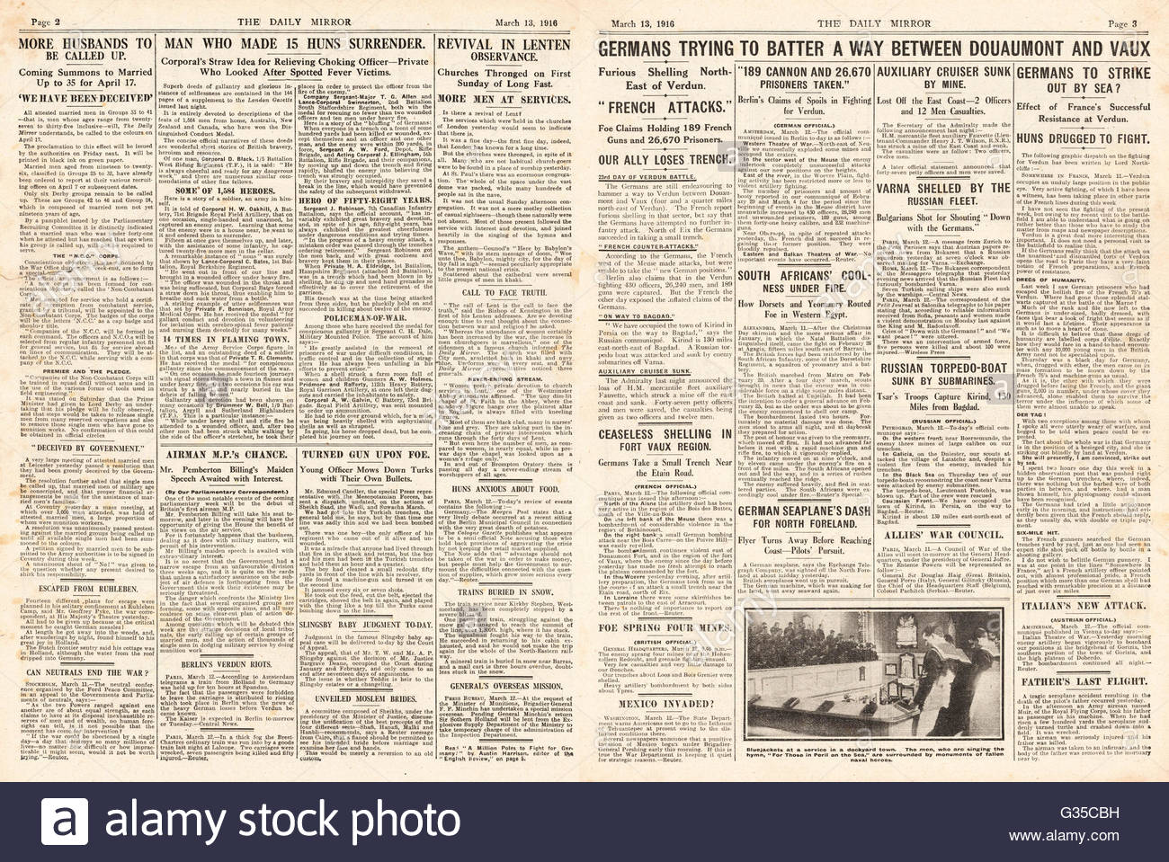1916 Daily Mirror pages 2 & 3  Battle of Verdun - Stock Image