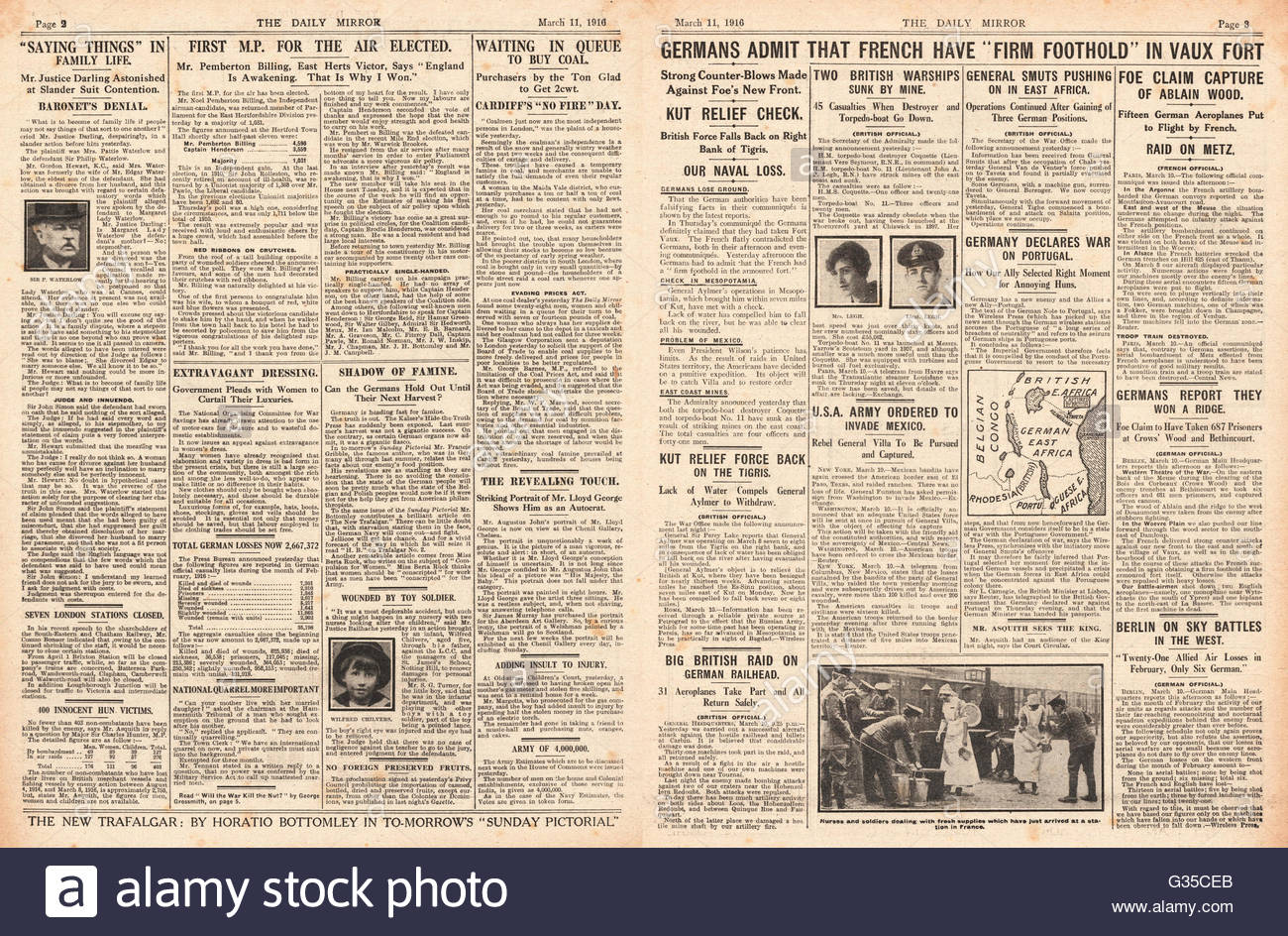 1916 Daily Mirror pages 2 & 3 Noel Pemberton-Billing wins Hertford by-election, French Army hold Fort Vaux and - Stock Image