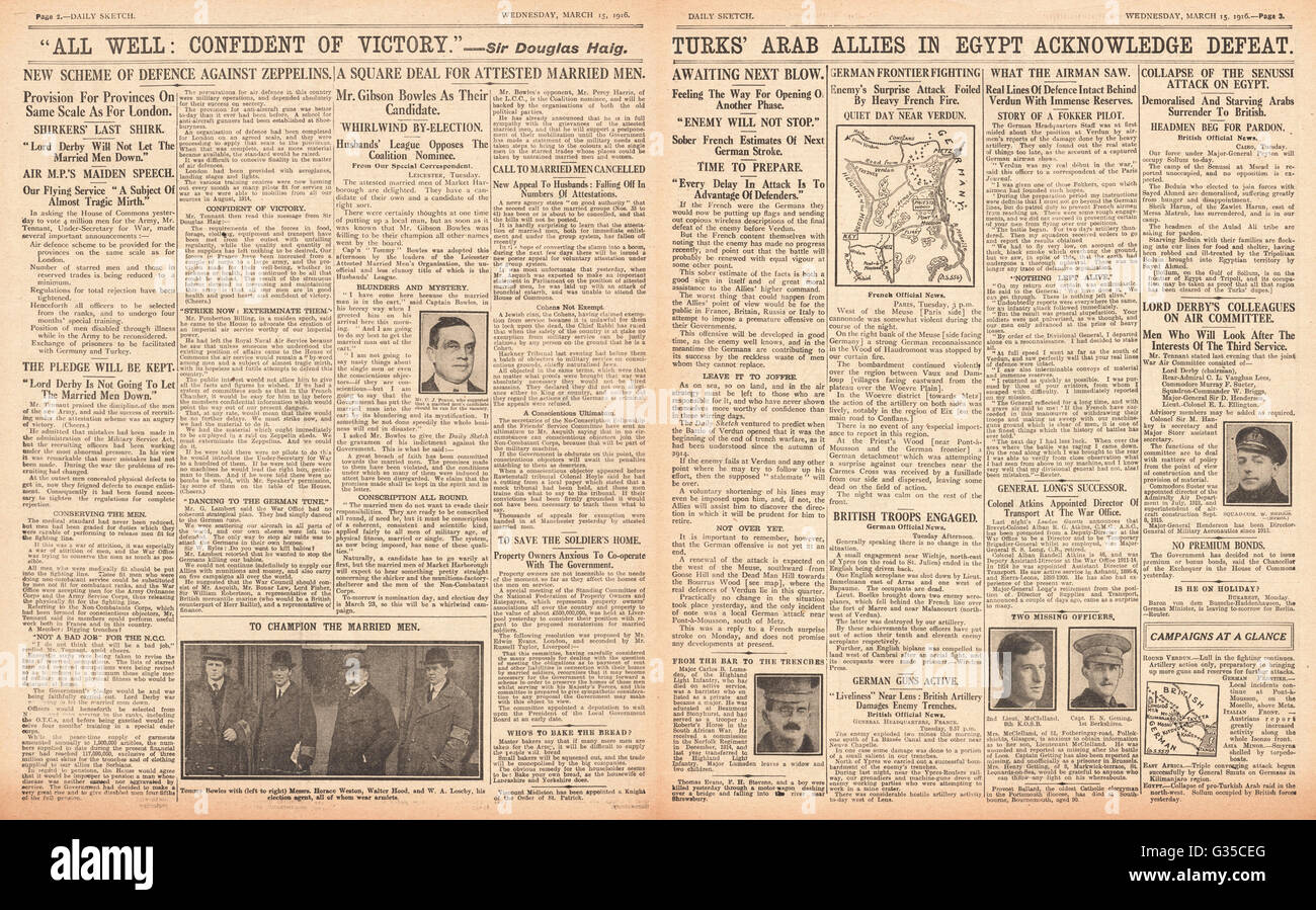 1916 Daily Sketch pages 2 & 3 Gibson Bowles and the Market Harborough by-election and General Douglas Haig is - Stock Image