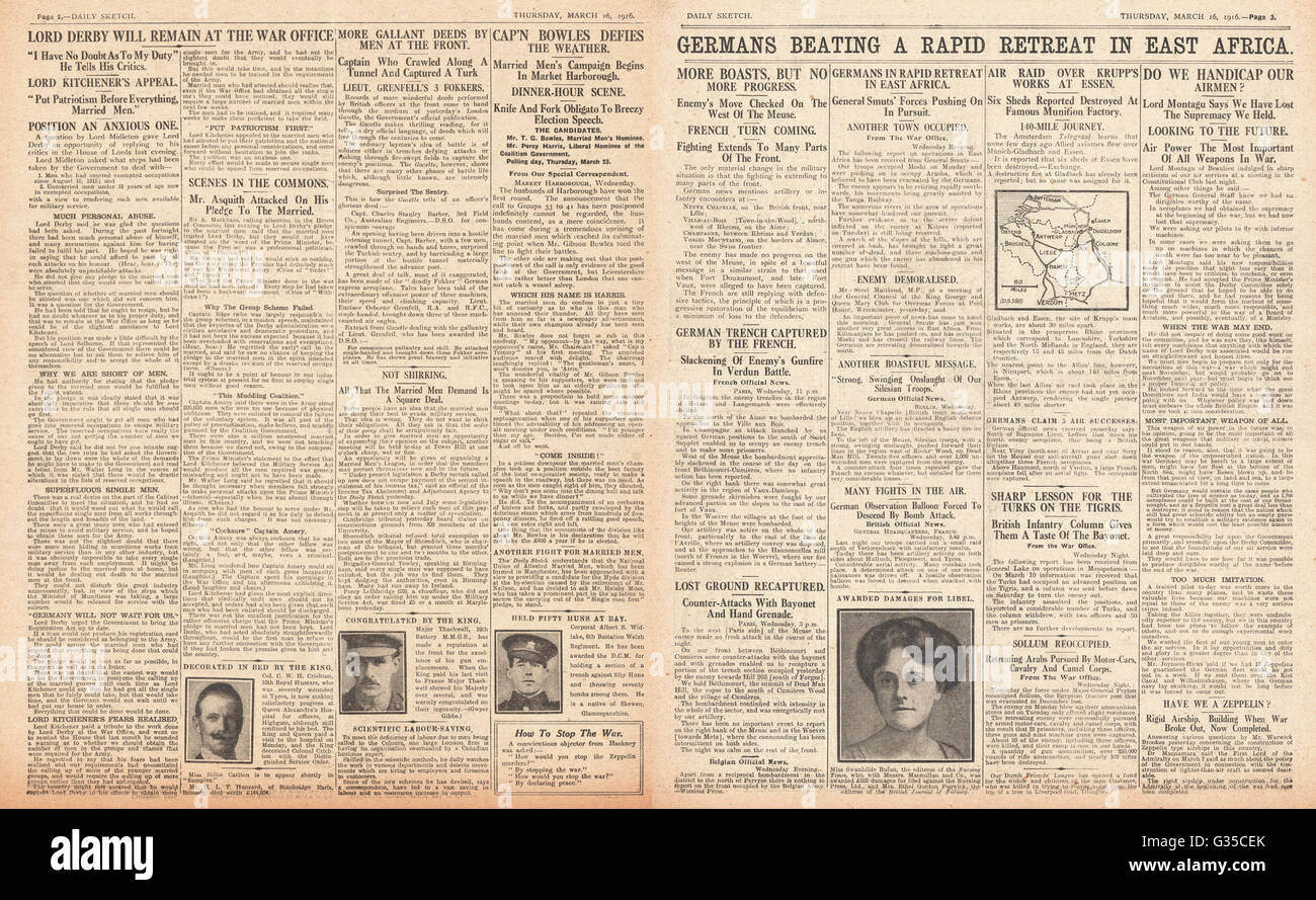 1916 Daily Sketch pages 2 & 3 German troops retreat in East Africa, Gibson Bowles and the Market Harborough by-election Stock Photo