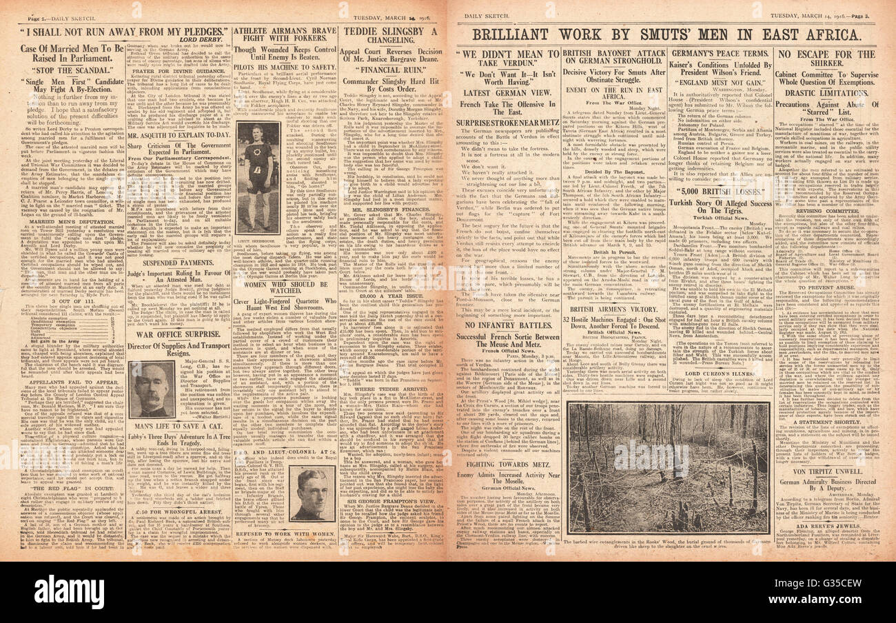 1916 Daily Sketch pages 2 & 3 Slingsby Baby case and victory for General Smuts in German East Africa - Stock Image