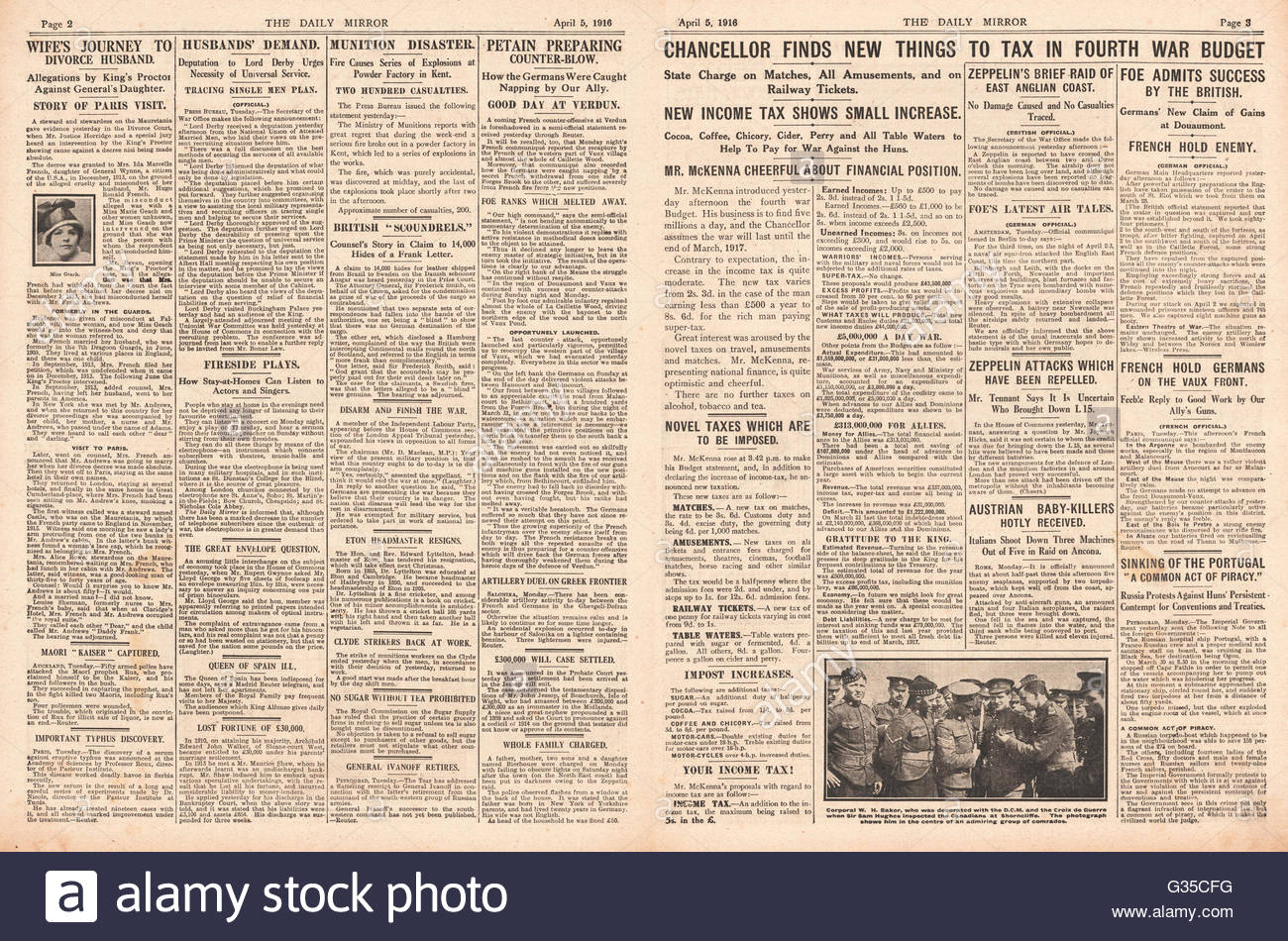 1916 Daily Mirror pages 2 & 3 Daily Mirror Reginald McKenna and Fourth War Budget - Stock Image