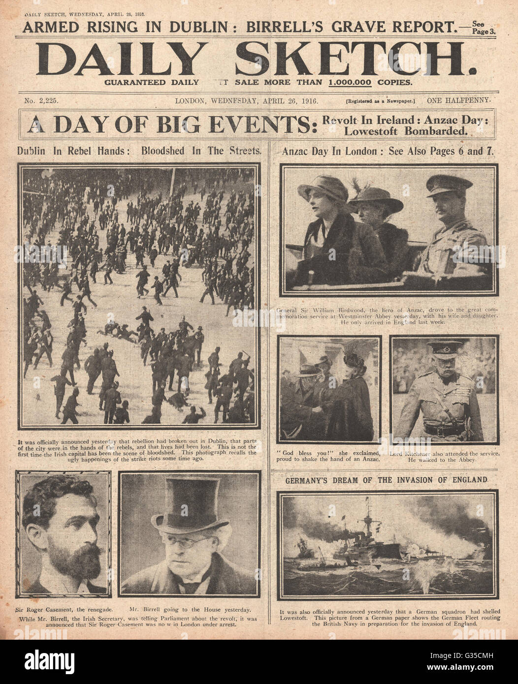 1916 Daily Sketch front page Easter Uprising - Stock Image