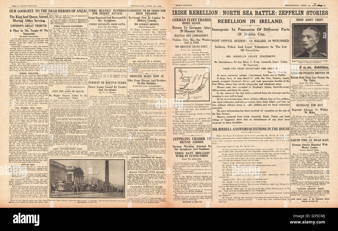 1916 Daily Sketch pages 2 & 3 Easter Uprising - Stock Image