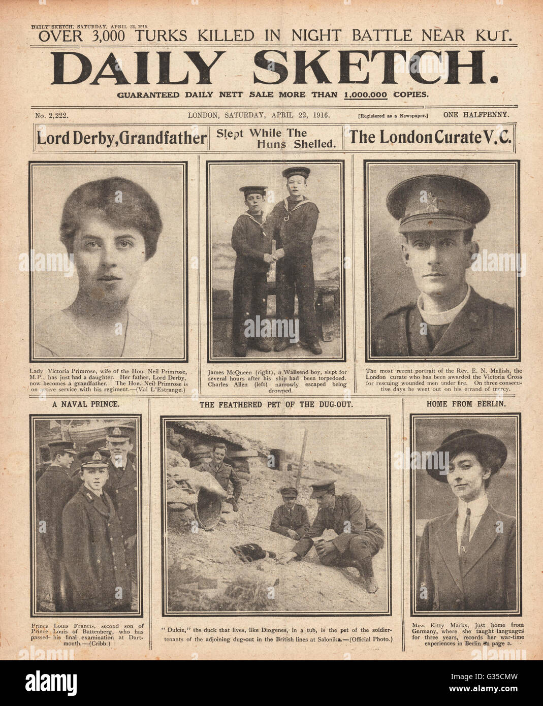 1916 Daily Sketch front page Noel Mellish VC - Stock Image