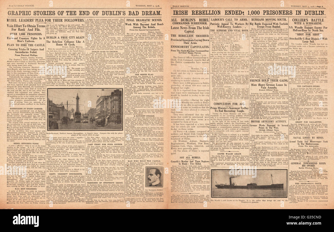 1916 Daily Sketch pages 2 & 3 Easter Uprising in Ireland - Stock Image