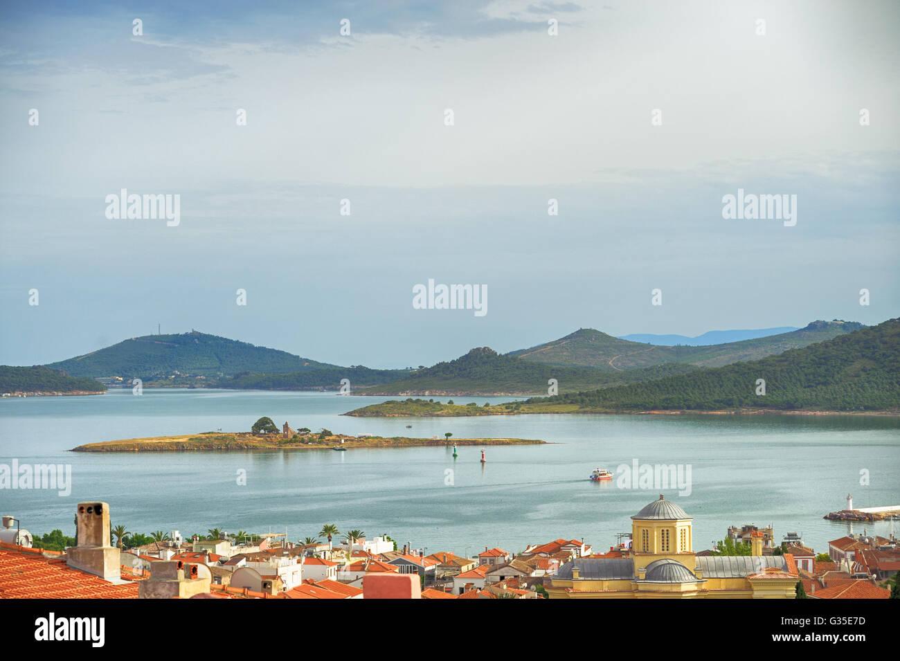 Seascape of touristic town, Cunda Alibey Island, Ayvalik. It is a small island in the northwestern Aegean Sea, - Stock Image