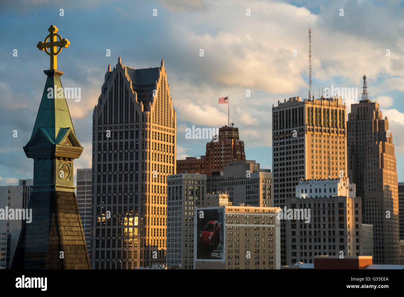 Detroit, Michigan - Downtown Detroit. The steeple of Old St. Mary's Catholic Church is on the foreground, left. - Stock Image