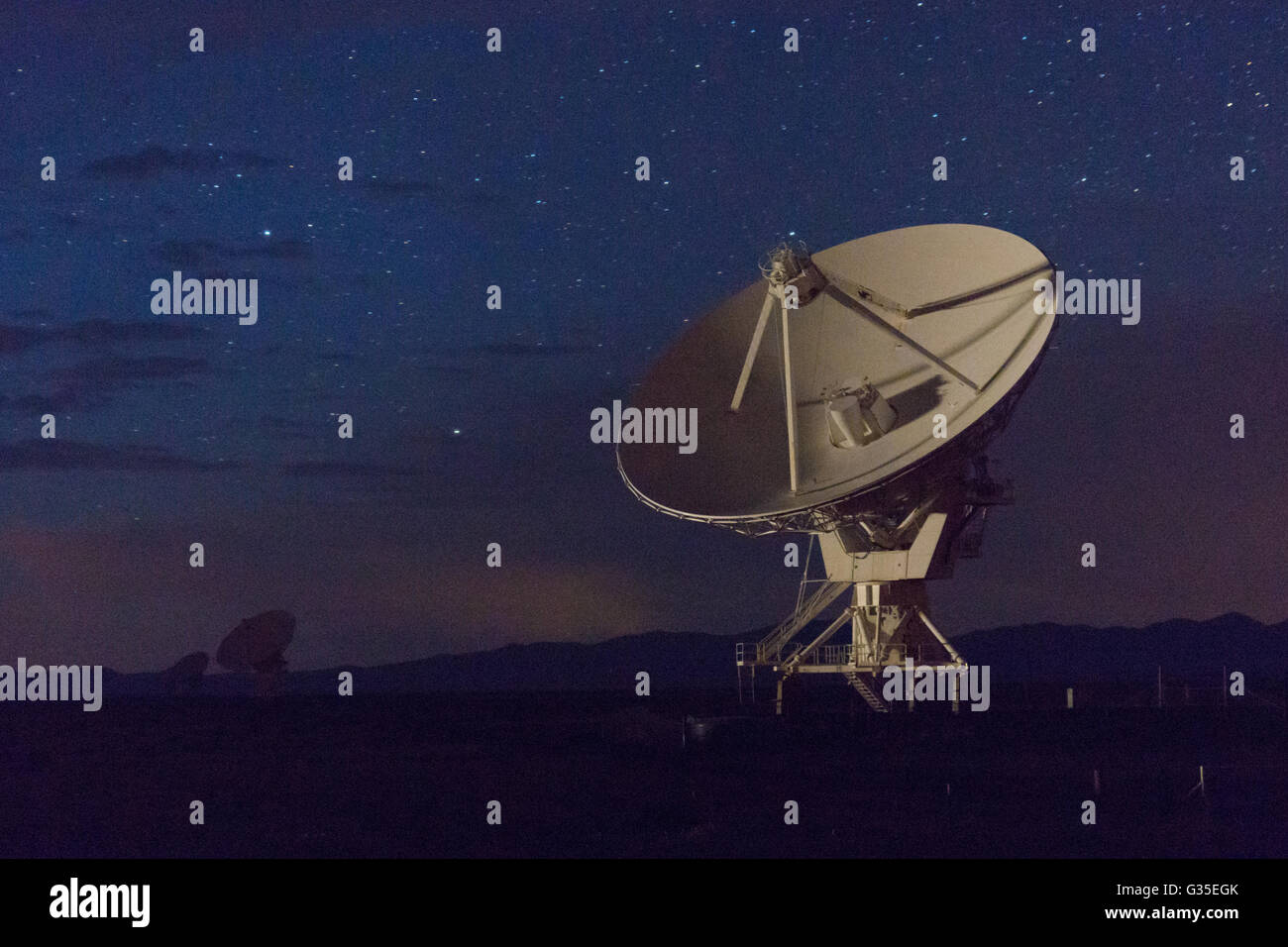 Night sky at the Very large Array-National Radio Astronomy Observatory, New Mexico, USA. Stock Photo