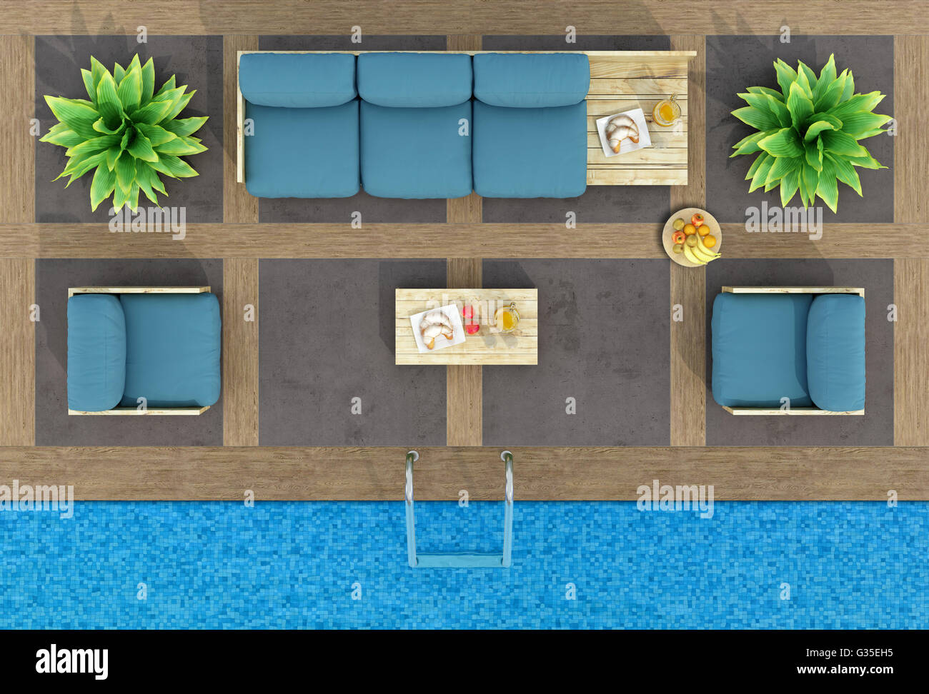 Top View Of Pallet Sofa And Armchairs By The Pool 3d