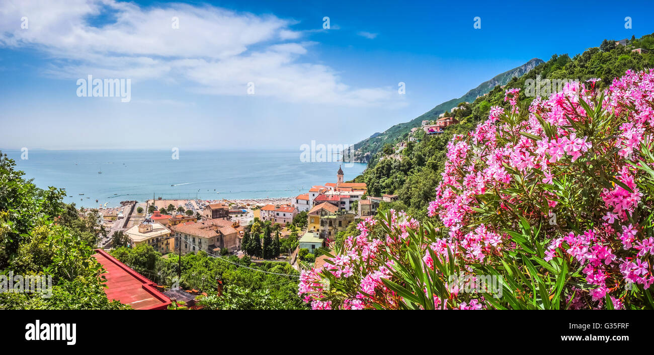 Scenic picture-postcard view of famous Amalfi Coast with beautiful Gulf of Salerno, Campania, Italy - Stock Image