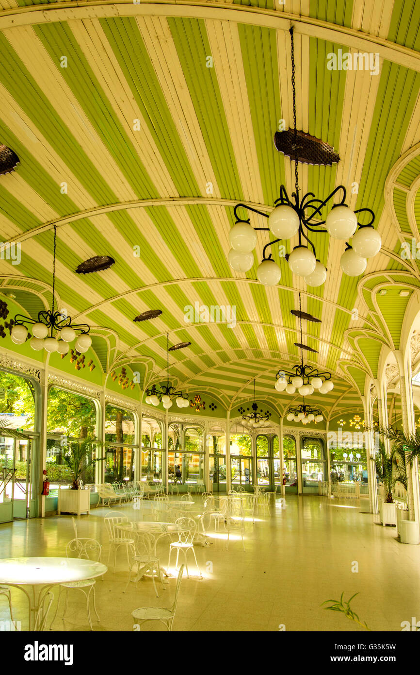 Vichy spa Halle des Sources / Hall of the Springs building in the park, Vichy, Allier, France - Stock Image