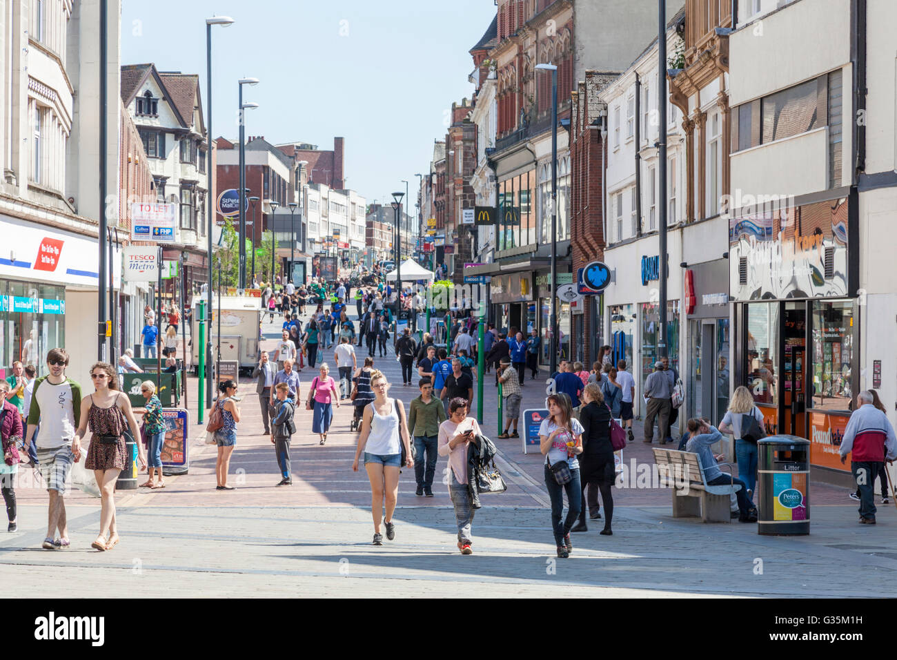 People shopping, St Peter's Street, Derby city centre, England, UK - Stock Image