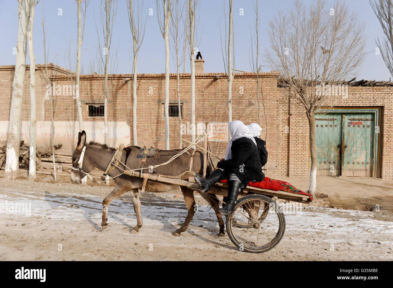 CHINA province Xinjiang, uighur town Opal near Kashgar / CHINA Provinz Xinjiang, uigurische Stadt Opal bei Kashgar, - Stock Image
