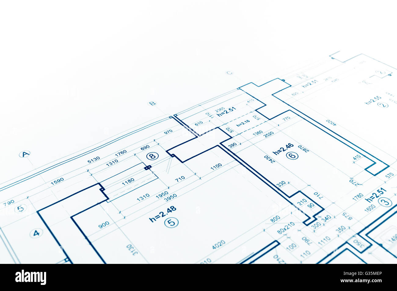 Attractive Blueprint Floor Plan, Technical Drawing, Construction Background