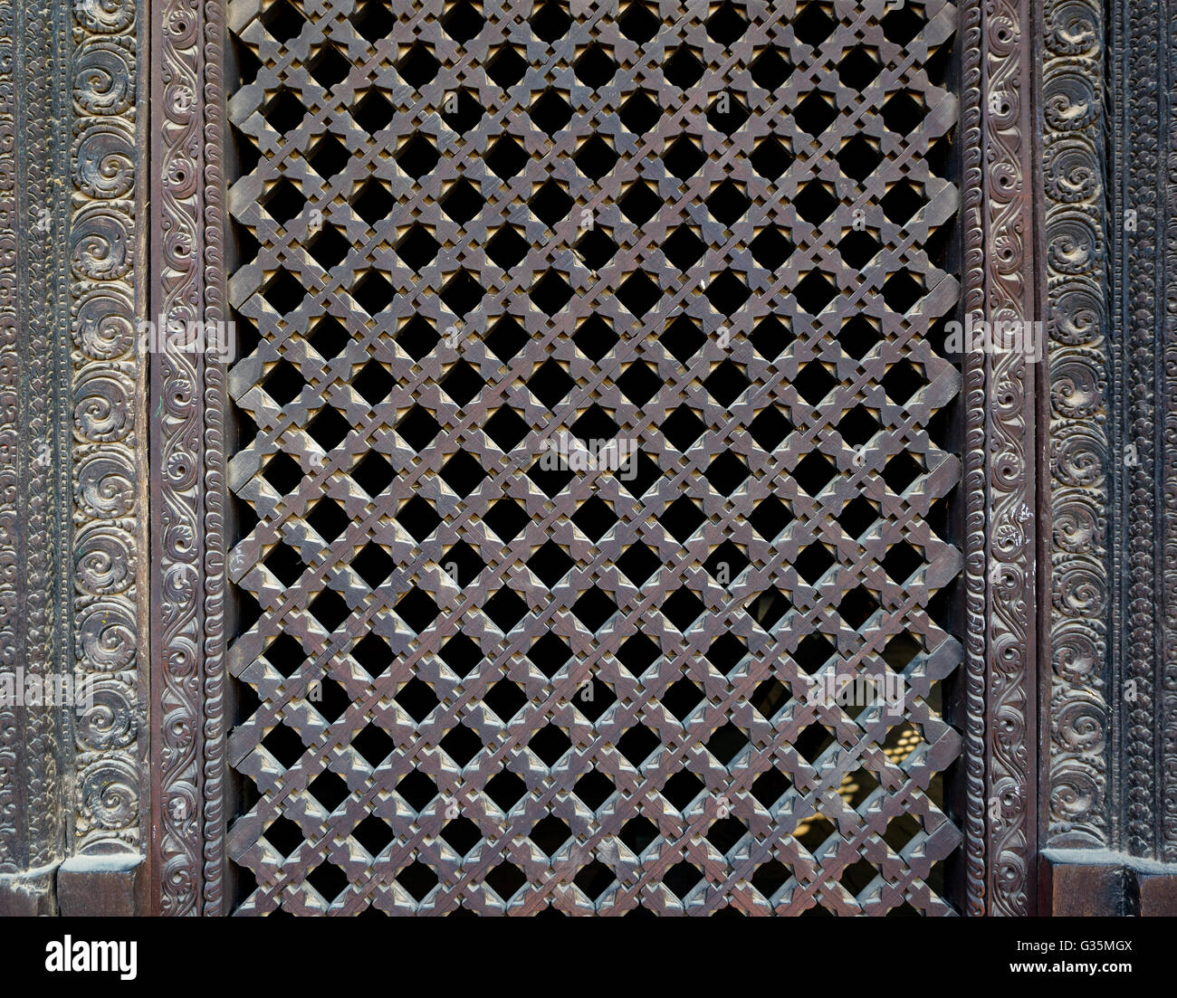 Wooden Nepalese window called Ankhi jhyal - Stock Image