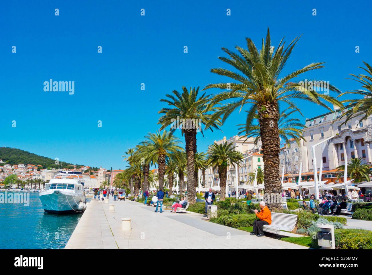 Riva, seaside promenade, Split, Dalmatia, Croatia - Stock Image