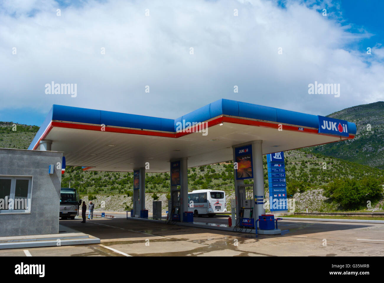 Jukoil, service gas filling station, Hani i Hotit region, near Montenegran border, Albania - Stock Image