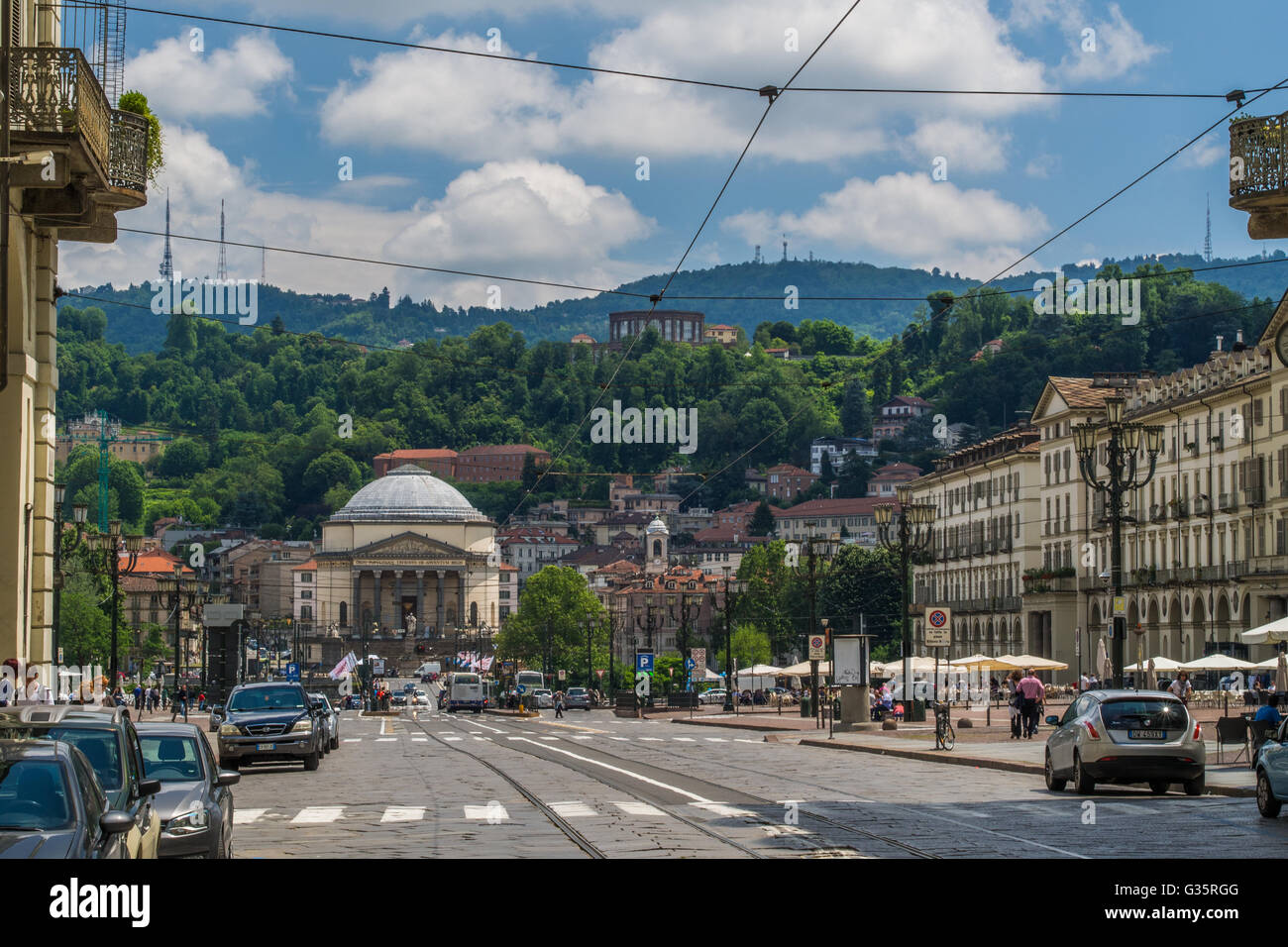 View towards the 'Gran Madre di Dio' church, Turin, Piedmont region, Italy. - Stock Image