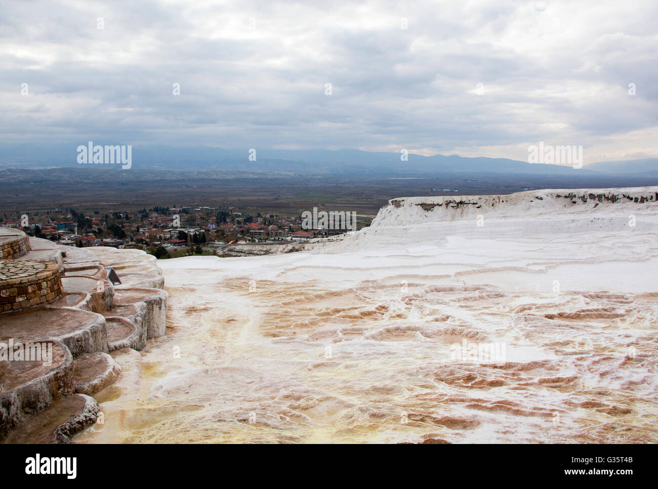 The view down the slope whited with carbonate minerals left by flowing water in Pamukkale, the World heritage site - Stock Image