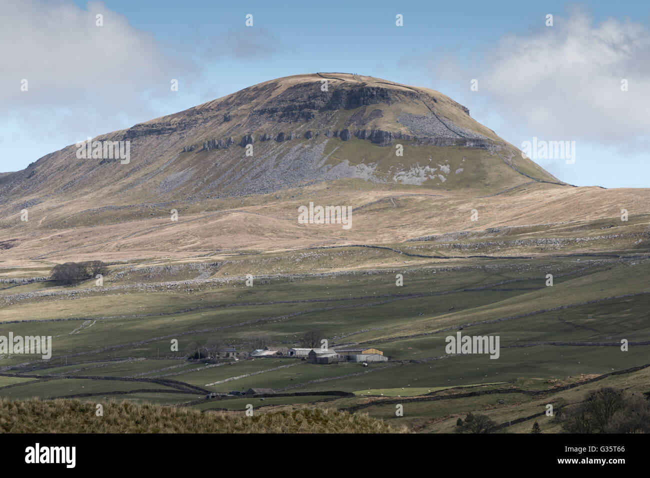 Pen-y-ghent, one of Yorkshire's Three Peaks, seen from the South-West - Stock Image