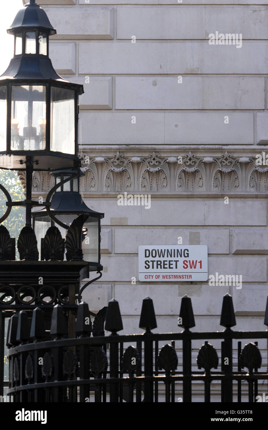 LONDON, UK - October 04, 2015: Downing Street's sign in Westminster. Downing St. - Stock Image