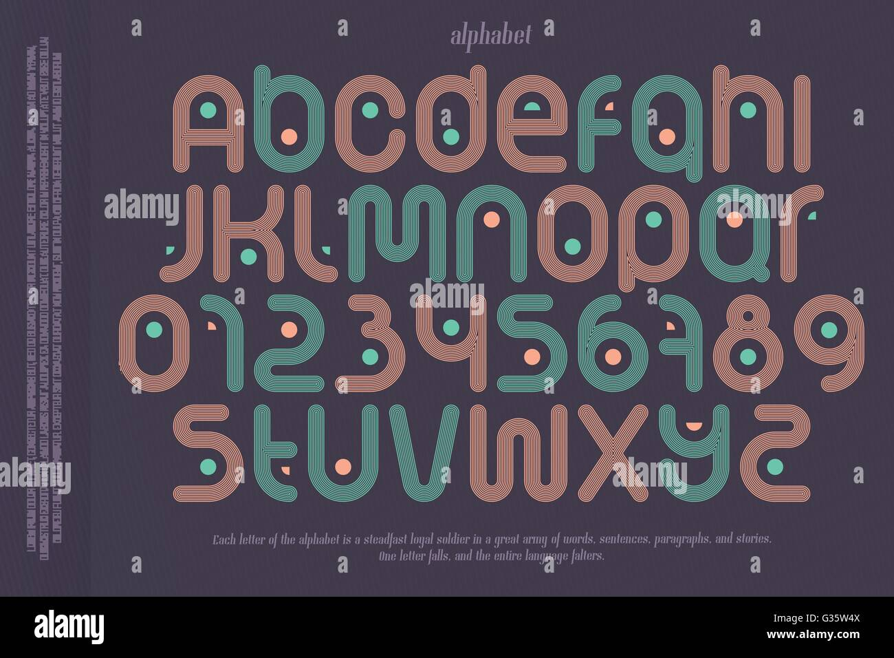 set of sport style alphabet letters and numbers over paper background. vector, dynamic, stylish font type design. - Stock Vector