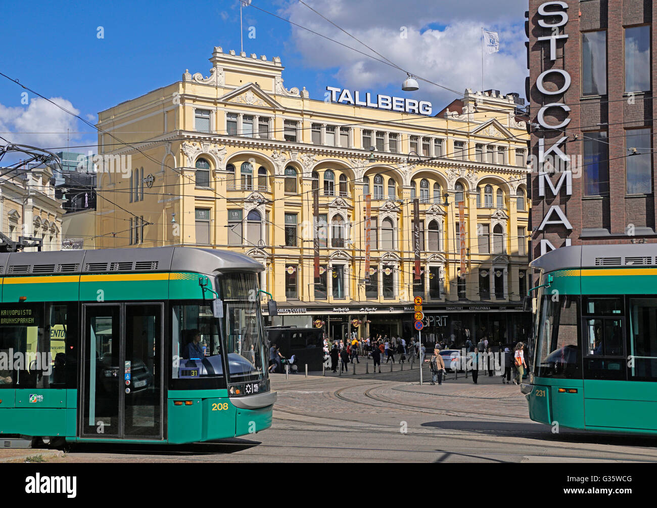 Landmark 1898 Tallberg Building in downtown Helsinki next To Stockman Department Store. - Stock Image