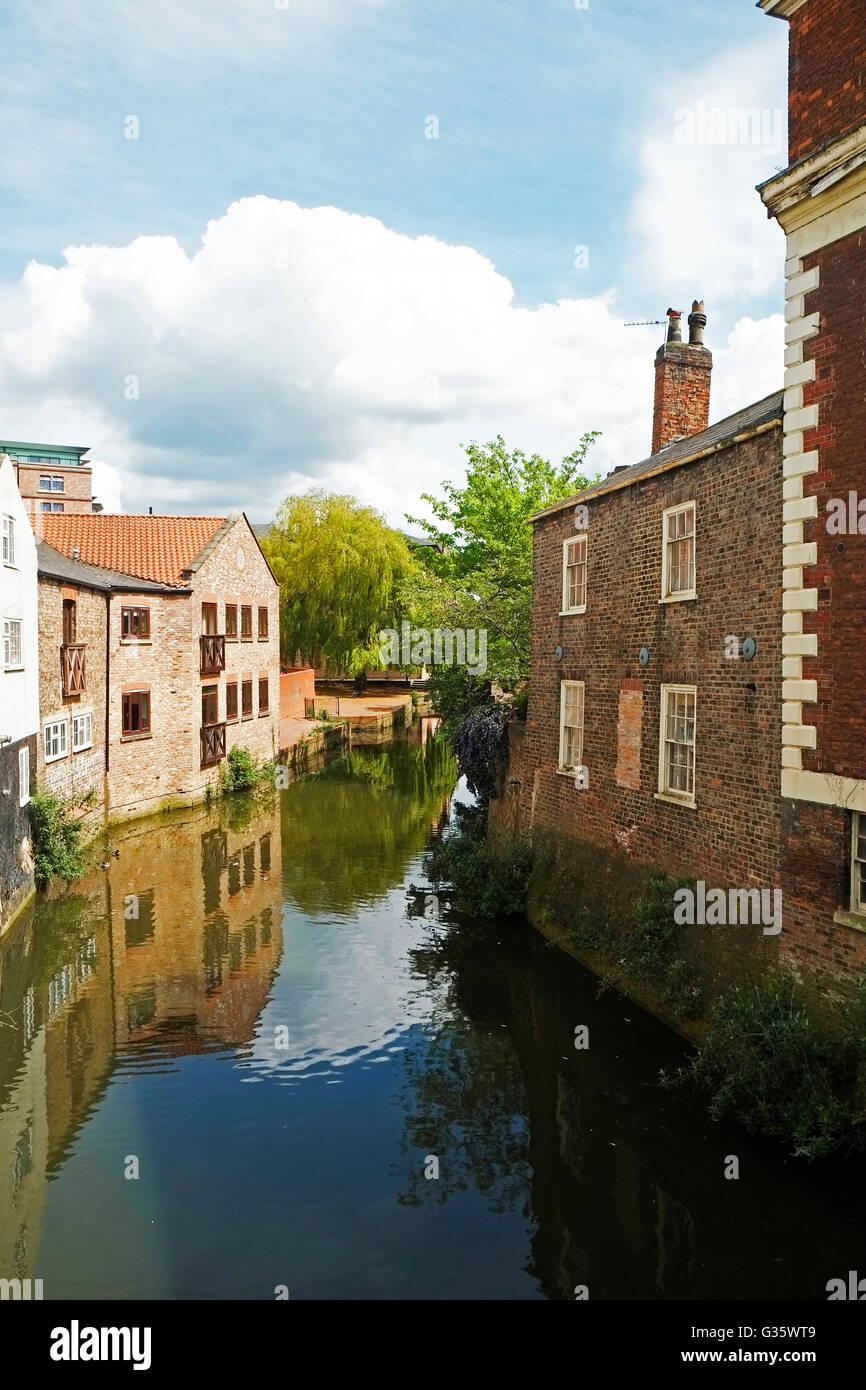 River Foss Fossgate York North Yorkshire England UK United Kingdom Europe - Stock Image