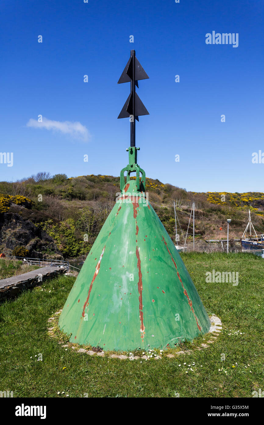Starboard Channel Marker at Amlwch Port, Anglesey, North Wales Uk - Stock Image