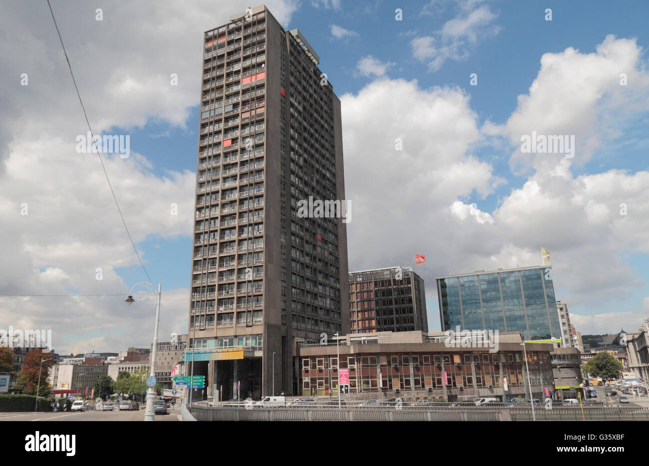 The Residence Kennedy residential tower block, completed in 1970, Liege, Belgium. - Stock Image
