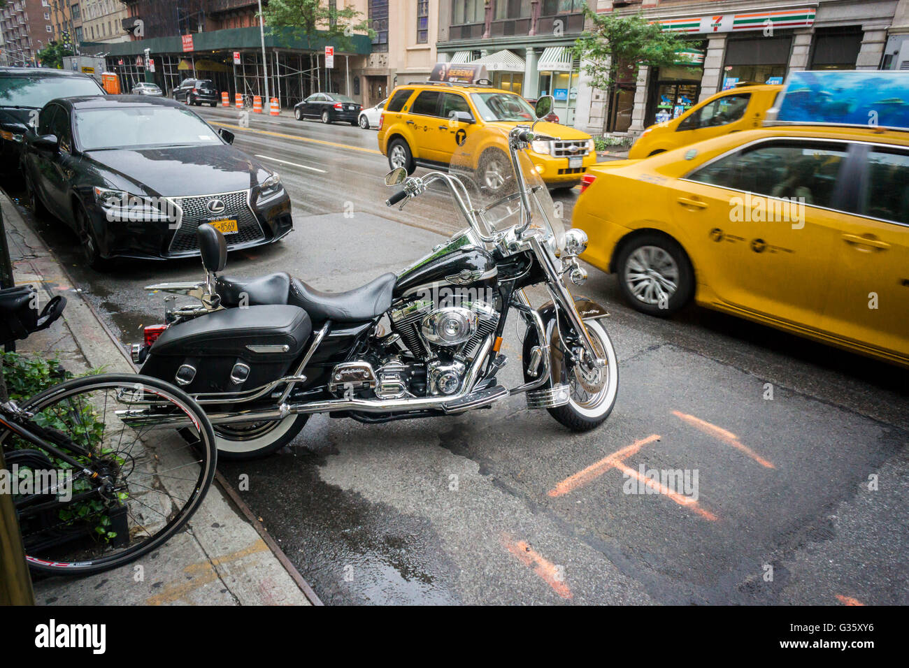 A Harley-Davidson motorcycle parked in New York on Sunday, June 5, 2016. (© Richard B. Levine) - Stock Image