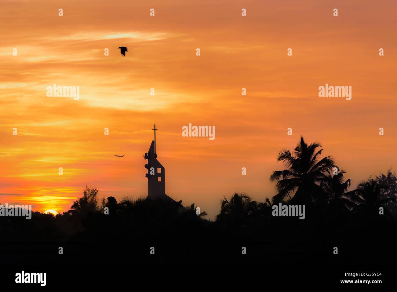 Sunrise, church, bird, airplane, sunset, palmtrees, romantic, Negombo, Sri lanka nature, wake up, early morning, - Stock Image