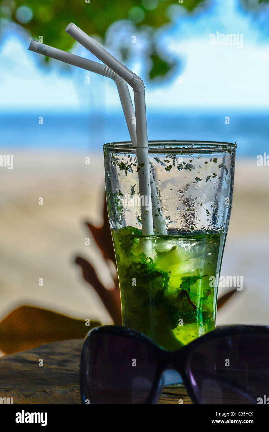 Mohito, coctail, beach, relax, sunny day, travel, Asia, hotel, five star - Stock Image